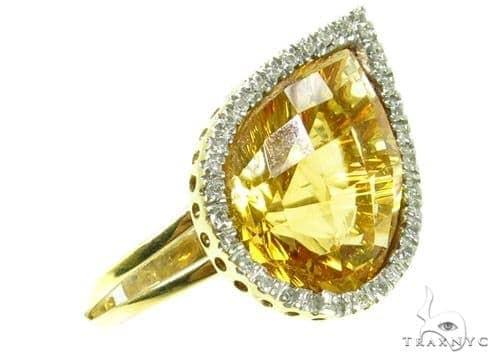 Prong Diamond pear cut Citrine Ring Anniversary/Fashion