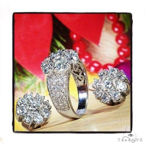 Prong Diamond Earrings&Ring Set 39612 Engagement