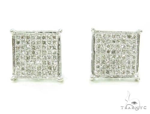 Micro-Pave Diamond Silver Earrings 39710 Metal