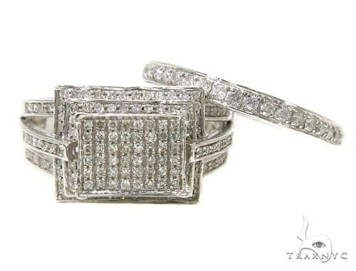 10k White Gold Prong Diamond Wedding Set-39996 Engagement