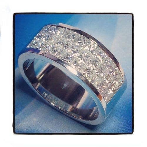 3 Row Invisible Diamond Ring Stone