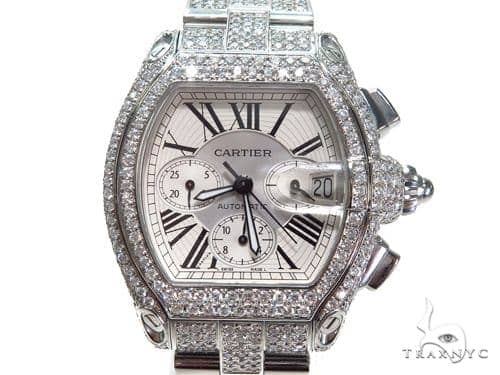 Pave Diamond Cartier Roadster Chronograph Mens Watch W62019X6 40780 Cartier