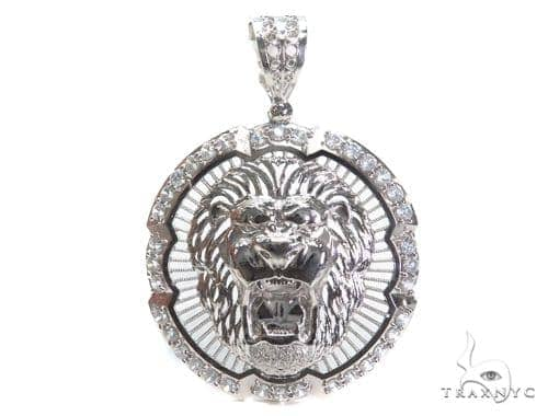 Lion Sterling Silver Pendant 40883 Metal
