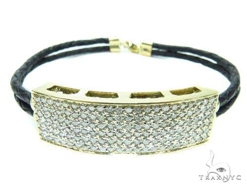 Prong Diamond Leather Rope Bracelet 41580 Diamond
