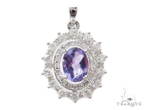 Prong Diamond Amethyst Pendant 41913 Stone