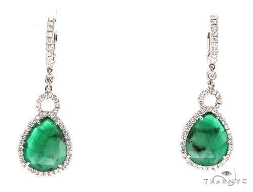Prong Diamond Emerald Earrings 42414 Stone