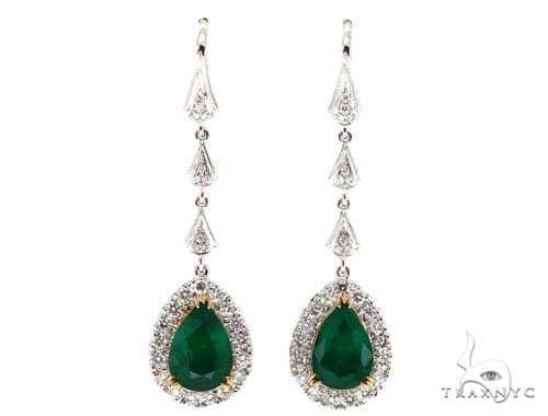 Green Bell Diamond Emerald Earrings 42417 Stone