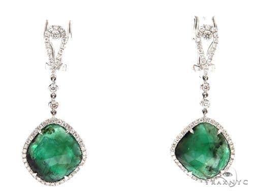 Prong Diamond Emerald Earrings 42418 Stone