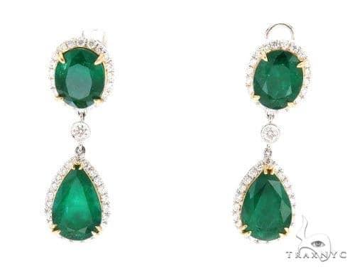 Dione Diamond Emerald Earrings 42420 Stone