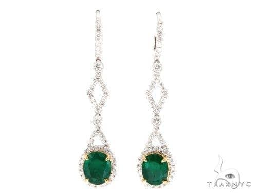 Jasmine Diamond Emerald Earrings 42419 Stone