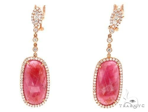 Prong Diamond & Pink Sapphire Earrings 42422 Stone