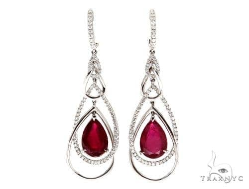 Prong Diamond Ruby Earrings 42424 Stone