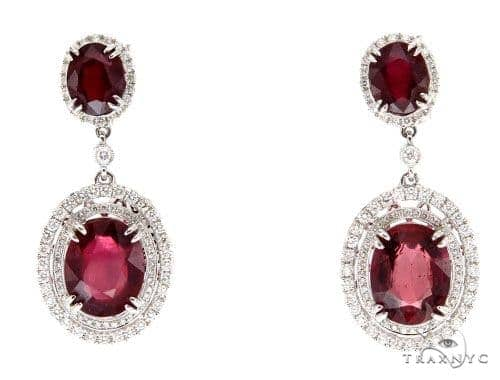 Prong Diamond Ruby Earrings 42428 Stone
