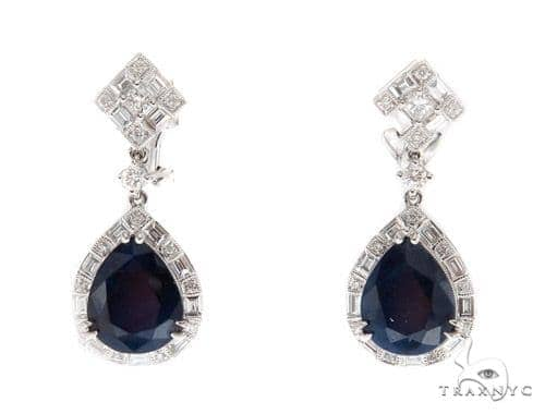 Prong Diamond Sapphire Earrings 42437 Stone