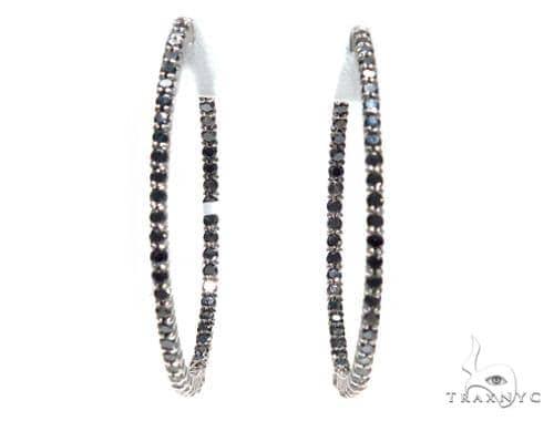 Black Diamond Hoop Silver Earrings 42570 Style