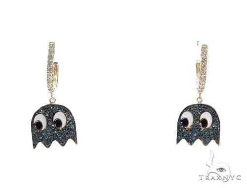 Pacman Ghost Diamond Earrings 42777 Stone