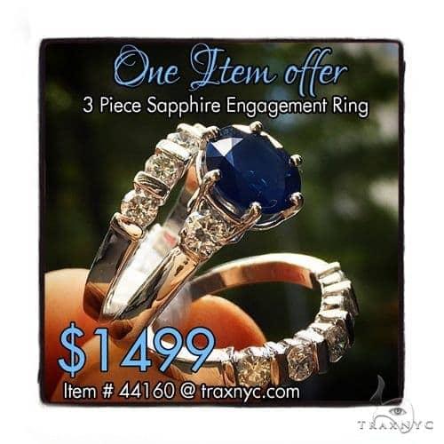 Three Piece Sapphire Engagement Ring 44160 Engagement