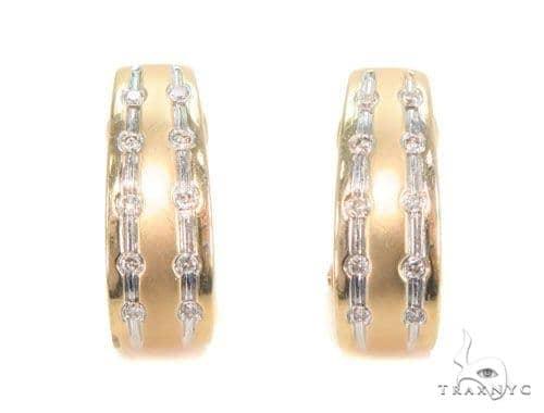 Bezel Diamond Hoop Earrings 43984 10k, 14k, 18k Gold Earrings