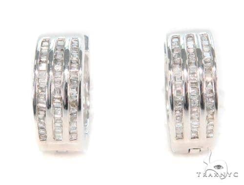 Channel Diamond Hoop Earrings 43991 10k, 14k, 18k Gold Earrings