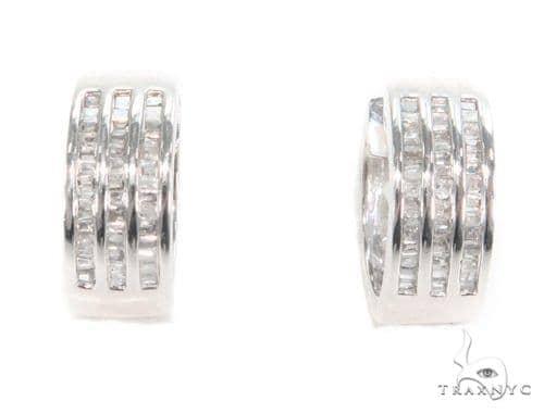 Channel Diamond Hoop Earrings 43992 10k, 14k, 18k Gold Earrings