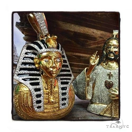 Solid 14K Yellow Gold Prong Bezel Diamond Pharaoh King Tut Pendant Metal