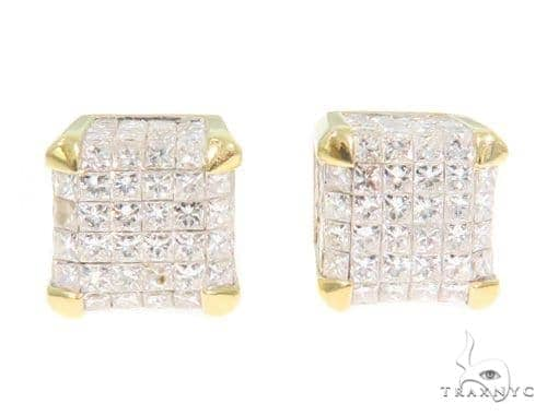 Cube Invisible Diamond Earrings 44374 Stone