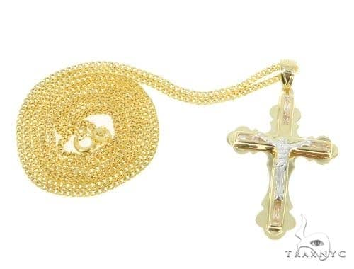 Jesus Cross Cuban/Curb Gold Chain Set 44465 Gold