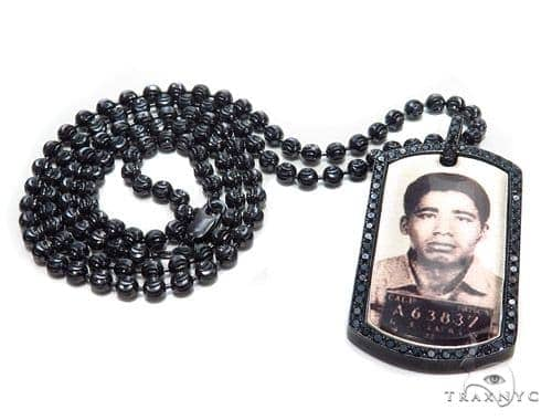 Black Diamond  Custom Photo Frame Moon Cut Chain 44900 Black Diamond Chains