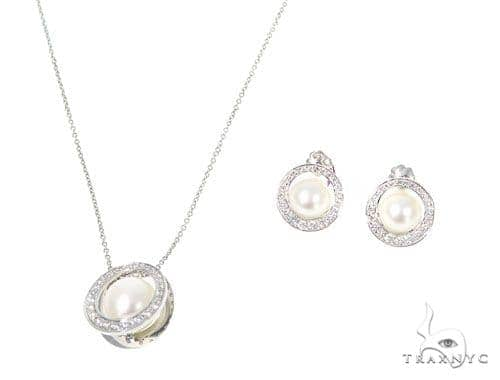 Pearl Diamond Necklace and Earrings Set 45106 Pearl