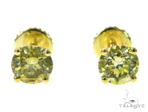 Fancy Yellow Diamond Stud Earrings 45243 Stone