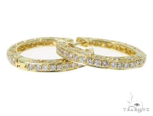 Prong Diamond Hoop Earrings 45329 10k, 14k, 18k Gold Earrings