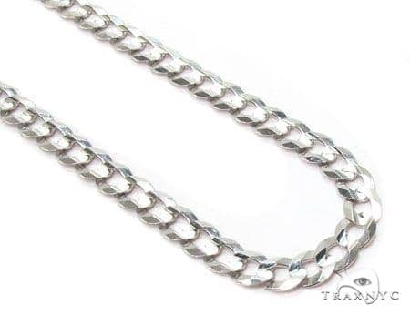 Mens 14k Solid White Gold Cuban/curb Chain 18 Inches 4.8mm 10.91 Grams 47152 Gold