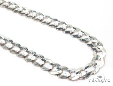 Mens 14k Solid White Gold Cuban/curb Chain 22 Inches 7.2mm 25.63 Grams 47156 Gold
