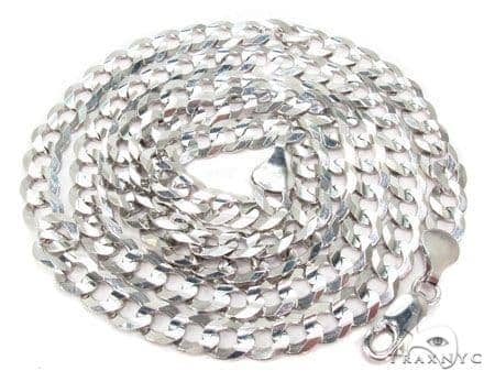 Mens 14k Solid White Gold Cuban/curb Chain 26 Inches 7.2mm 31.03 Grams 47157 Gold