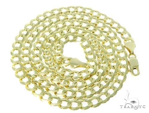 Mens 10k Hollow Yellow Gold Cuban/curb Chain 28 Inches 7mm 20 Grams 47248 Gold