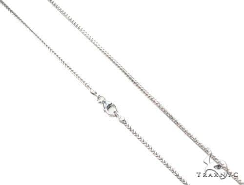 Mens 14k Solid White Gold Franco Chain 18 Inches 1.1mm 4.11 Grams 47599 Gold