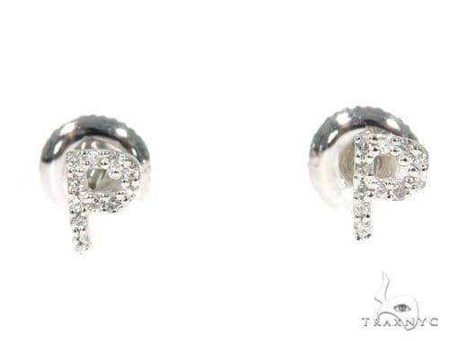 Prong Diamond Initial 'P' Earrings 32650 Stone