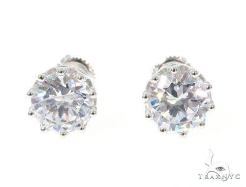 Small CZ Sterling Silver Earrings 48918 Metal