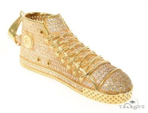 Silver CZ Shoe Pendant 48960 Metal