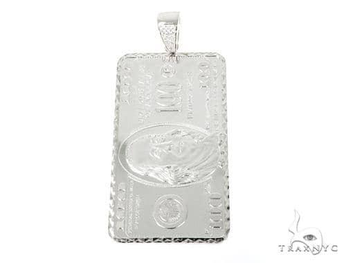 Silver One Dollar Bill - Benjamin Pendant Metal