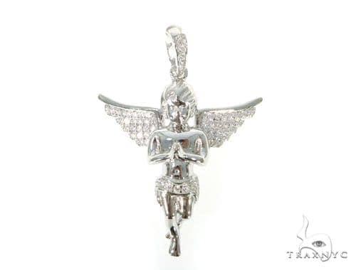 Silver CZ Mini Angel Pendant 49036 Metal