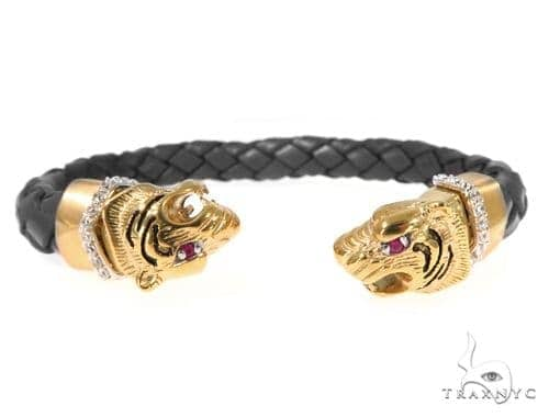 Tiger Stainless Steel CZ Bangle Bracelet 49058 Silver & Stainless Steel