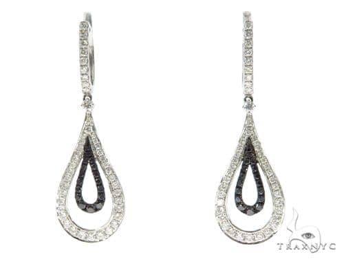Ladies Pave Black Diamond Earrings 43229 Stone