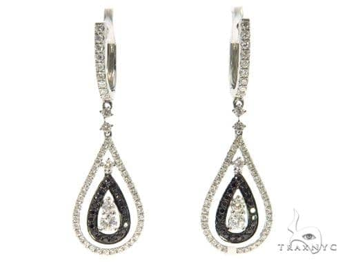 Ladies Prong Black Diamond Earrings 43231 Stone