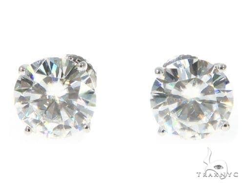 White Moissanite Stud Earrings 49106 Metal