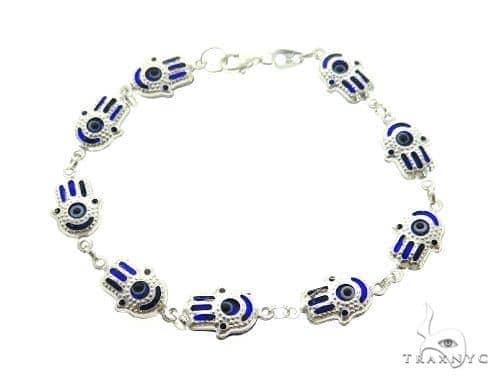 Silver CZ  Hamsa Hold Bracelet 43244 Silver & Stainless Steel