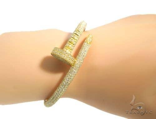 c1c100ecbc4 G Diamond Nail Bracelet 48977 Mens Yellow Gold 14k Round