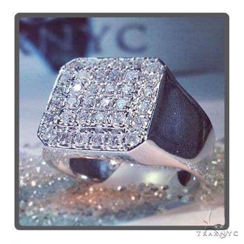 TraxNYC Heavy 14k White Gold Ring Stone