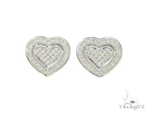 Heart Diamond Earrings 44047 Metal