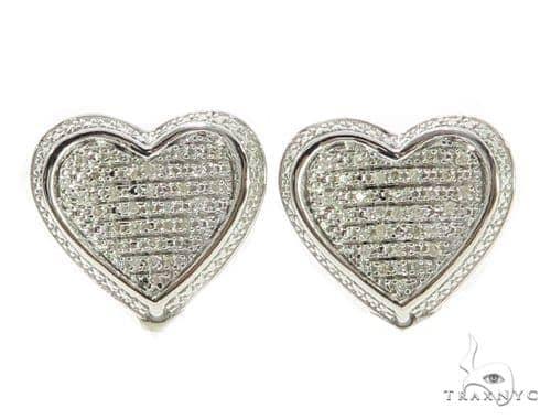 Heart Diamond Earrings 49357 Metal